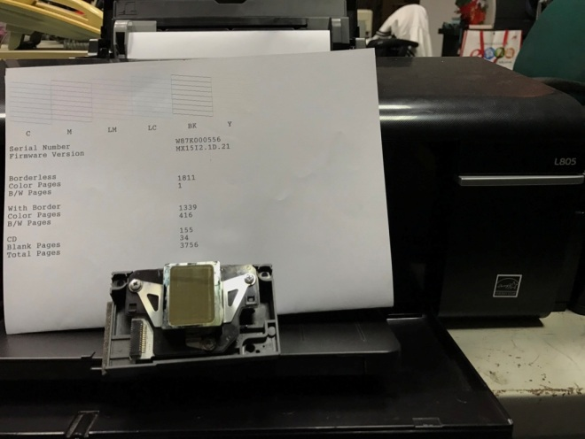 EPSON L805 更換噴頭